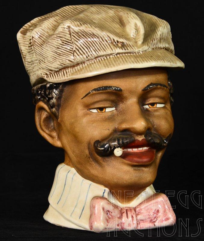 Majolica Black Americana Figural Tobacco Humidor