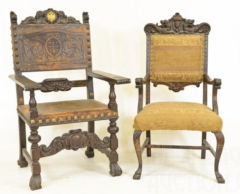 Two Gothic 19th Century Carved arm Chairs