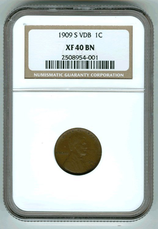 1909 S VDB Lincoln Cent US Penny NGC XF 40 BN