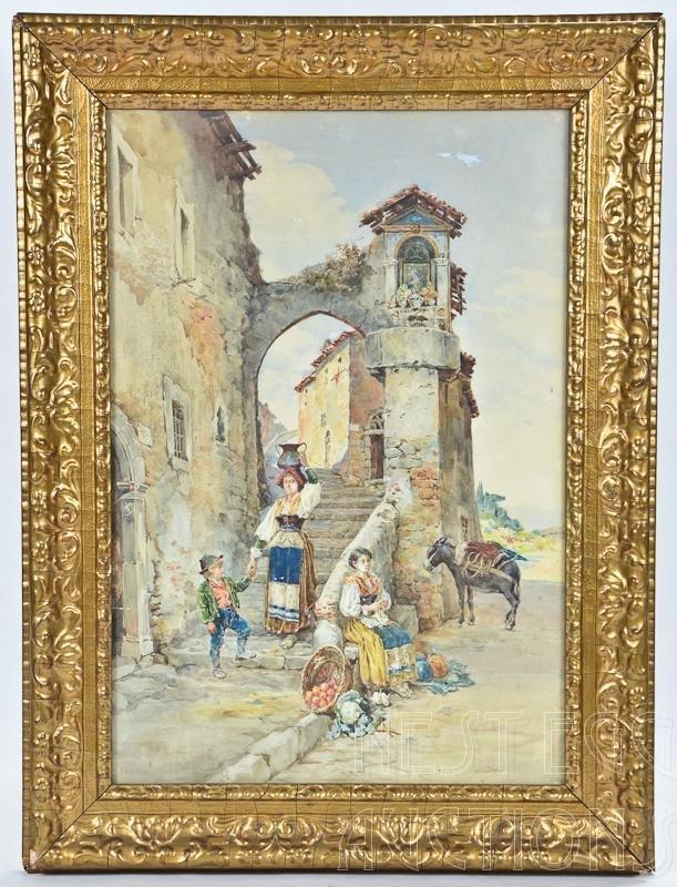 Pietro Pavesi Italian 19th C. Watercolor