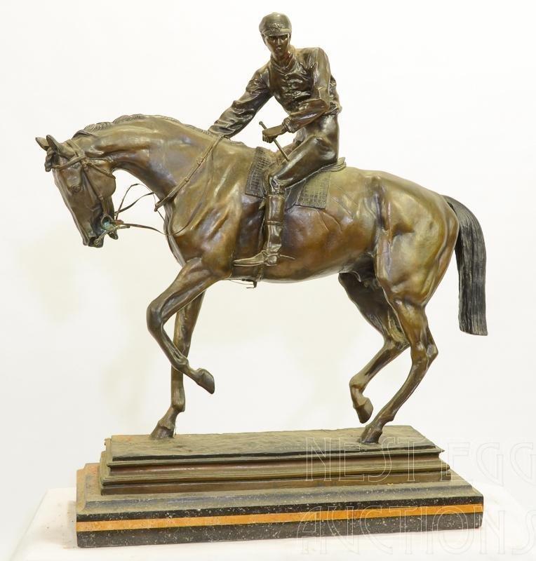 After Isidore Bonhuer Racehorse & Jockey Bronze