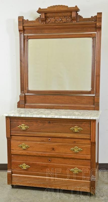Victorian Marble Top Three Drawer Dresser With Mirror