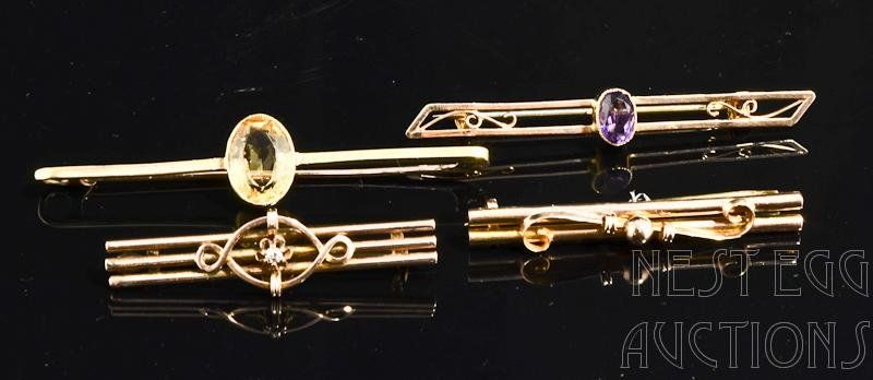 Group of Four Victorian 14k Gold Bar Pins