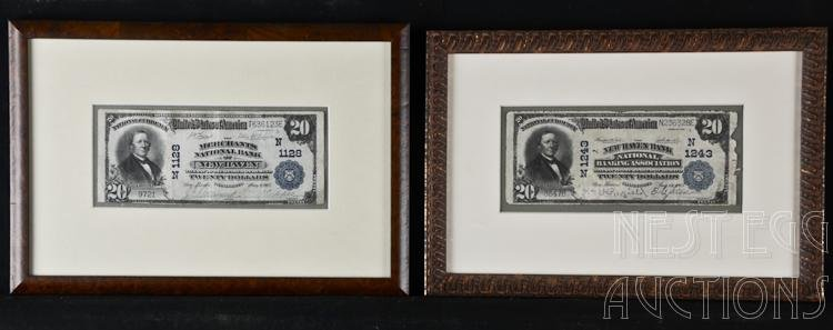 Two National Currency $20 Notes New Haven CT Banks