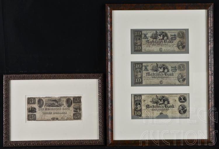Connecticut Mechanics Bank Obsolete Notes 2 Frames