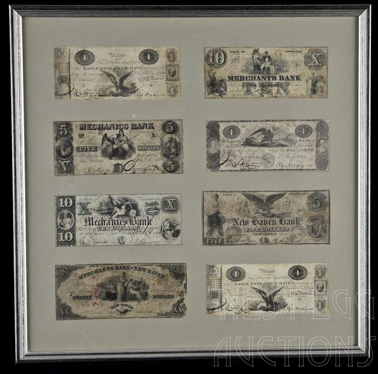 Lot Of 8 New Haven Obsolete Currency Notes