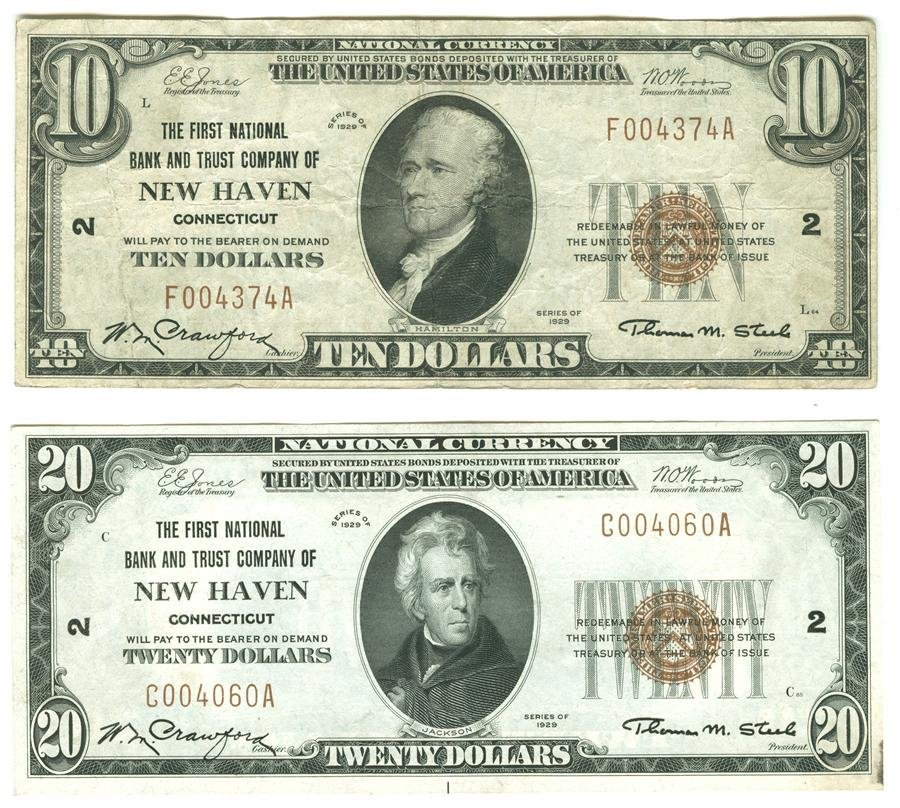 Four New Haven Connecticut National Currency Notes