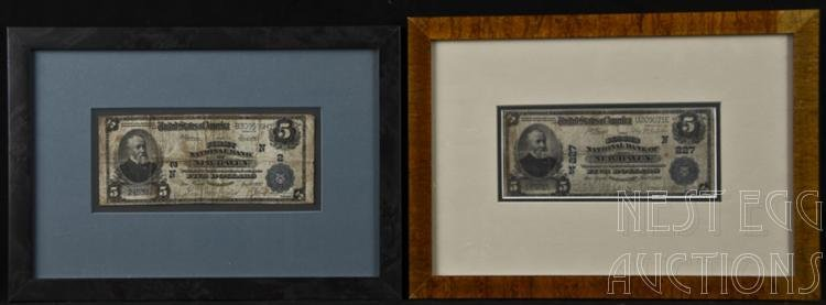 Two New Haven National Currency $5 Dollar Notes