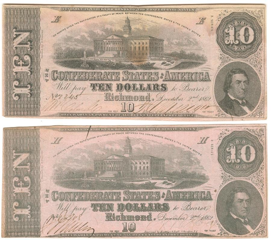 Confederate Bond Coupons and $10 Obsolete Bank Notes