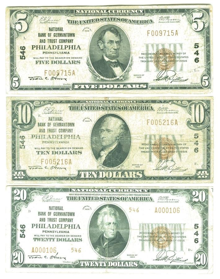 Three Philadelphia Pennsylvania National Currency Notes