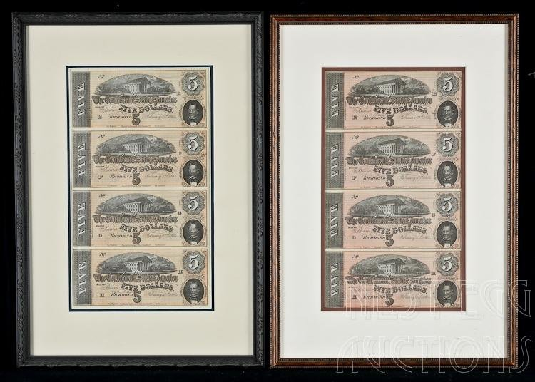 Two Confederate States Of America $5 Bank Notes