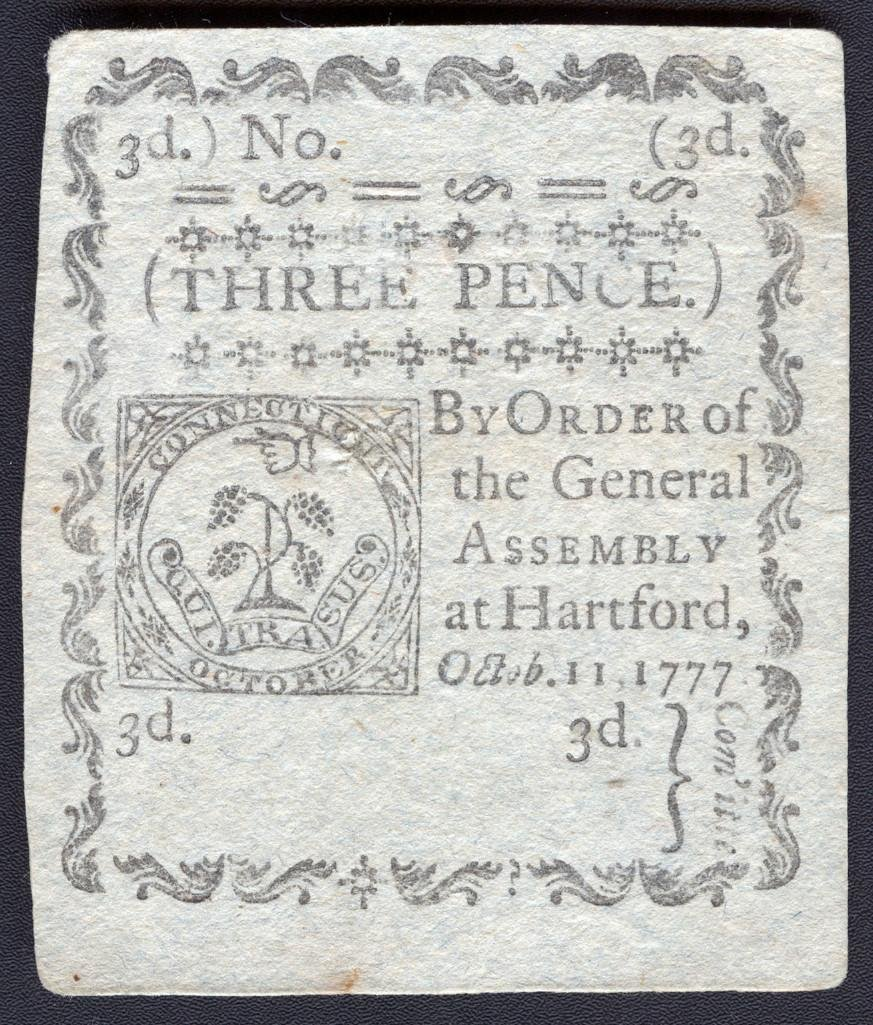 Hartford Connecticut Colonial Three Pence Note c. 1777