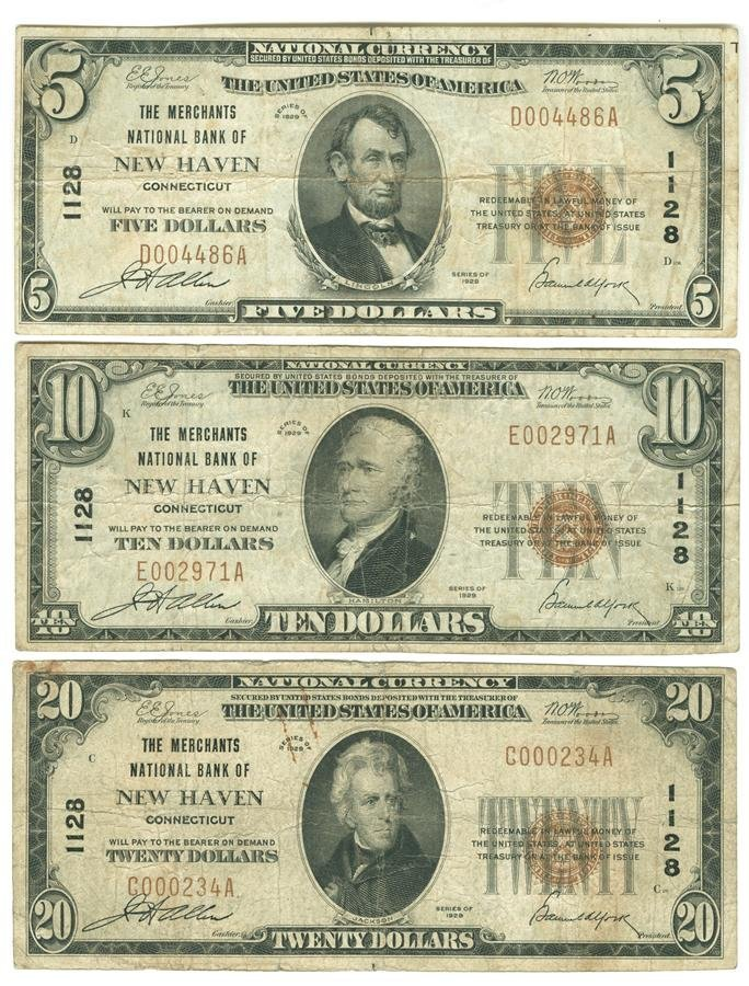 Three New Haven Connecticut National Currency Notes