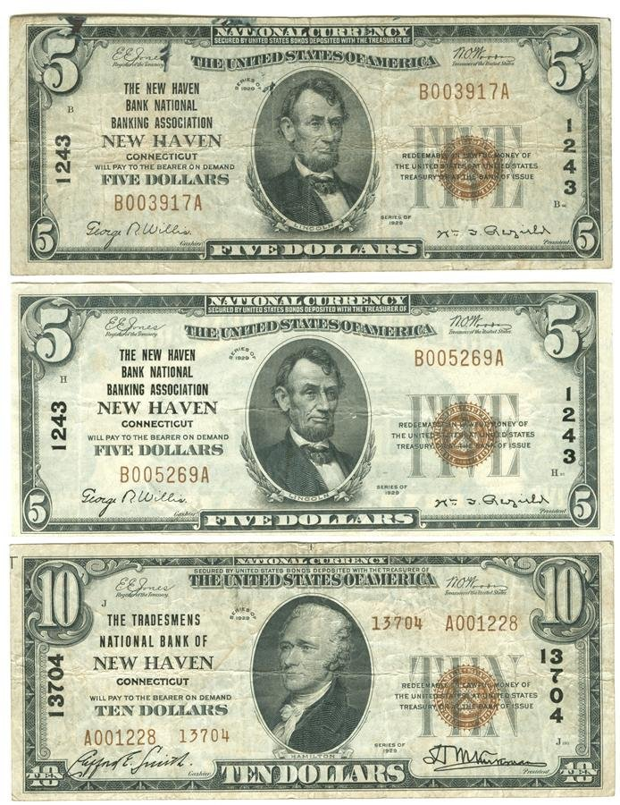 Lot of Three Pieces Of Connecticut National Currency