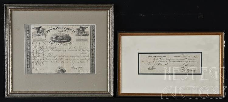 Lot of 2 Stock Certificates for New Haven CT Banks
