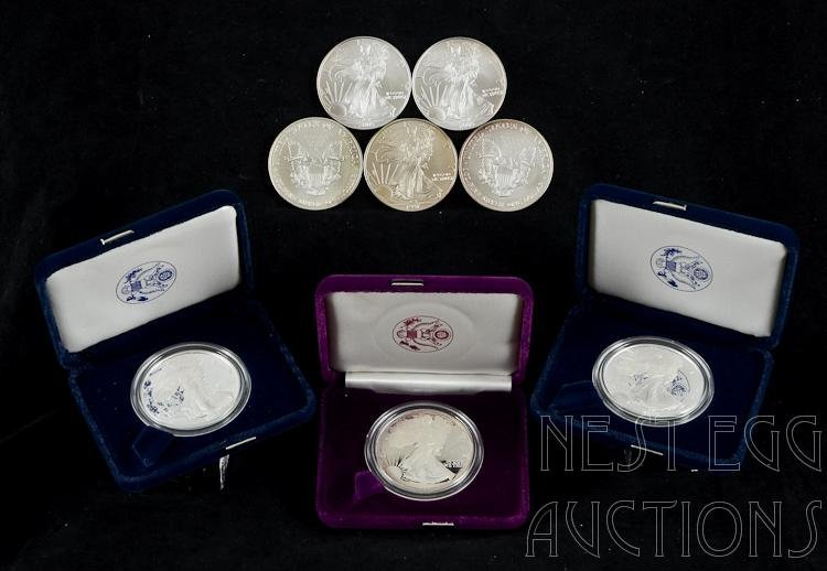 Eight American Eagle One Oz Fine Silver $1 Coins
