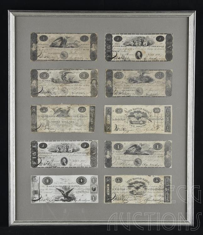 Lot of 10 Eagle Bank of New Haven CT Obsolete Notes