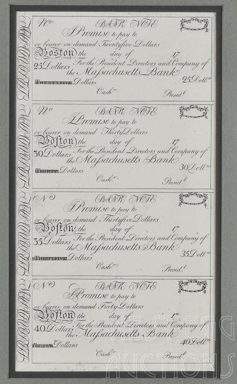 Massachusetts Bank Uncut Sheet Obsolete Notes Boston MA