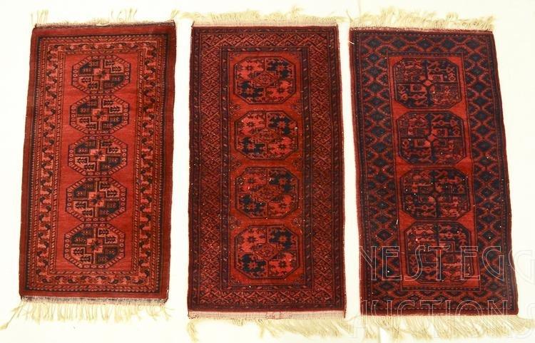 3 Persian Wool Bokhara throw rugs