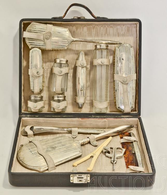 16 Piece Sterling Silver Dresser Set In Case