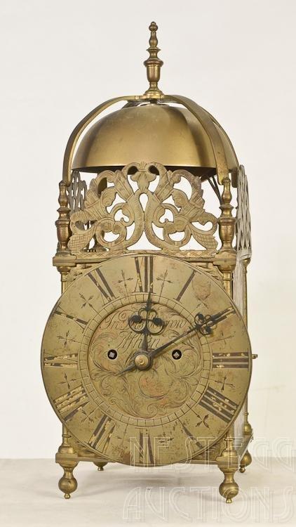 English Brass Lantern Clock by John Disborrow Of Ashen