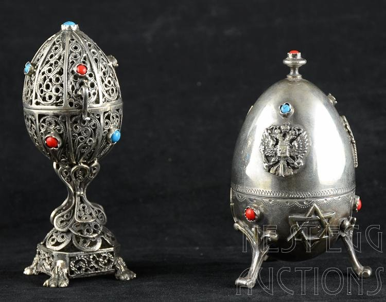 Russian Judaica Silver Egg Figures 5 OZT