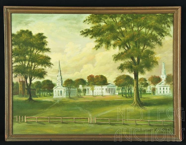 L.M. Wool Oil On Board New Haven Green Connecticut