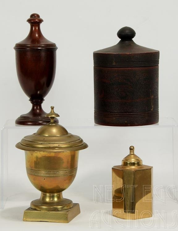 Group Of Brass And Wood Urns & Covered Boxes