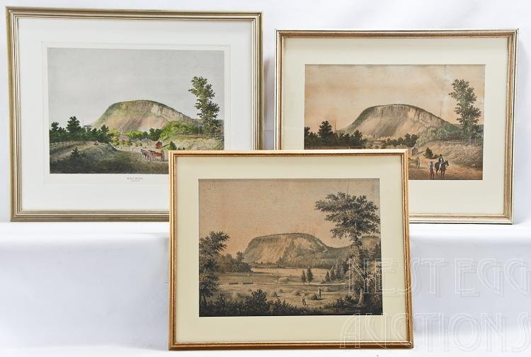 Thre Lithographs Of West Rock, New Haven CT