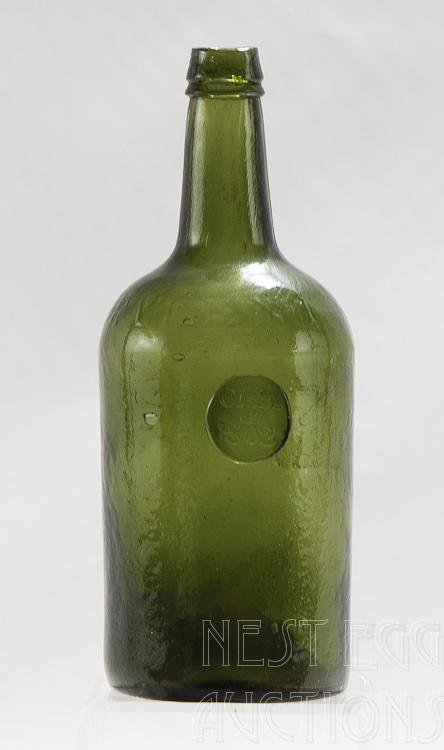 Antique Green Glass Whiskey Bottle Class of 1802
