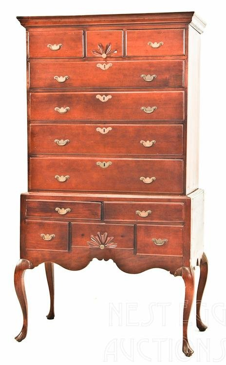 Country Queen Anne Flat Top Highboy