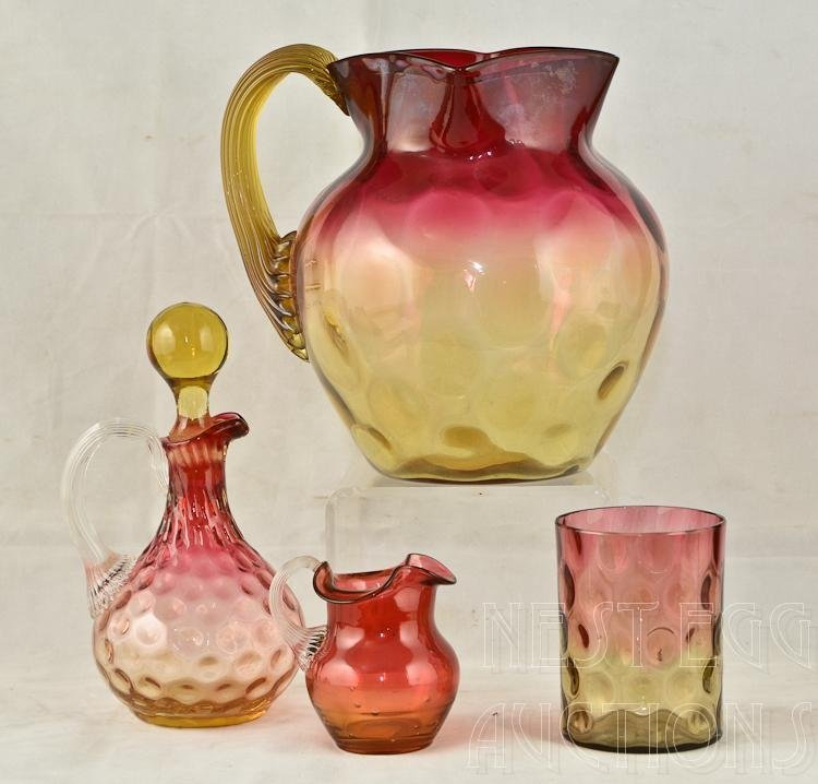 Four Pieces of Victorian Amberina art Glass