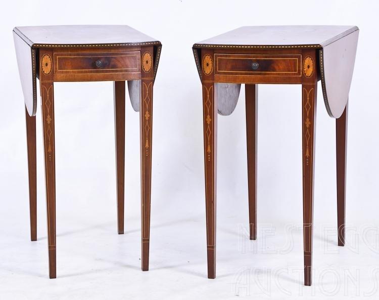 Pair Pembroke Inlaid Mahogany Tables