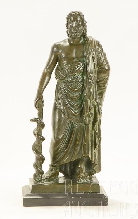 Classical Greek Bronze Figure: Serpent And Staff