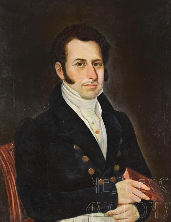 19th Century Oil On Canvas Painting Portrait Of A Gentl