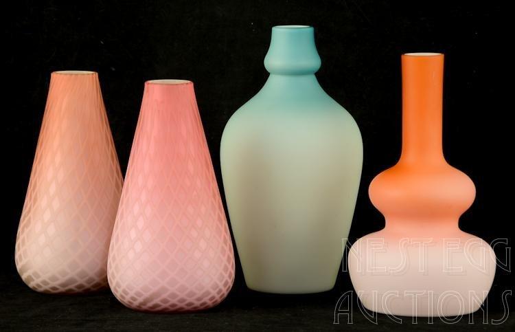Four pcs Cased Satin Victorian Art Glass