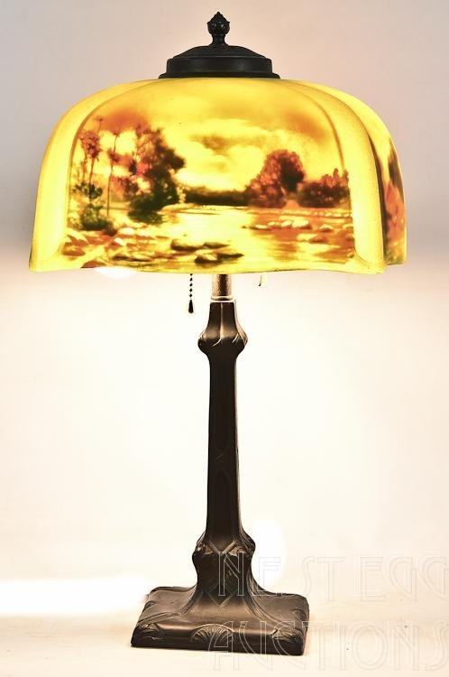 Pittsburgh Reverse Painted Scenic Lamp