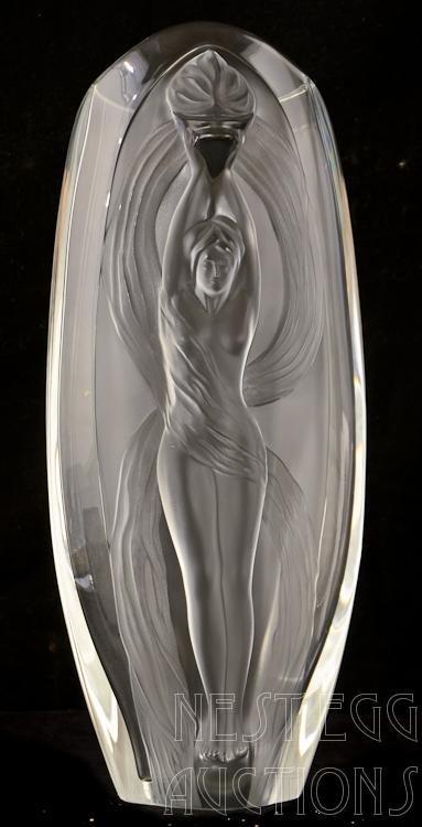 Lalique Paris Crystal Vase Female Nude