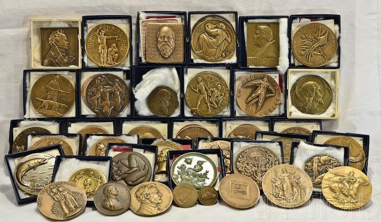 38 Bronze Medallions And Coins