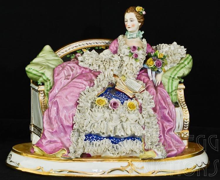 Italian Capodimonte Porcelain Reclining Female Figurine