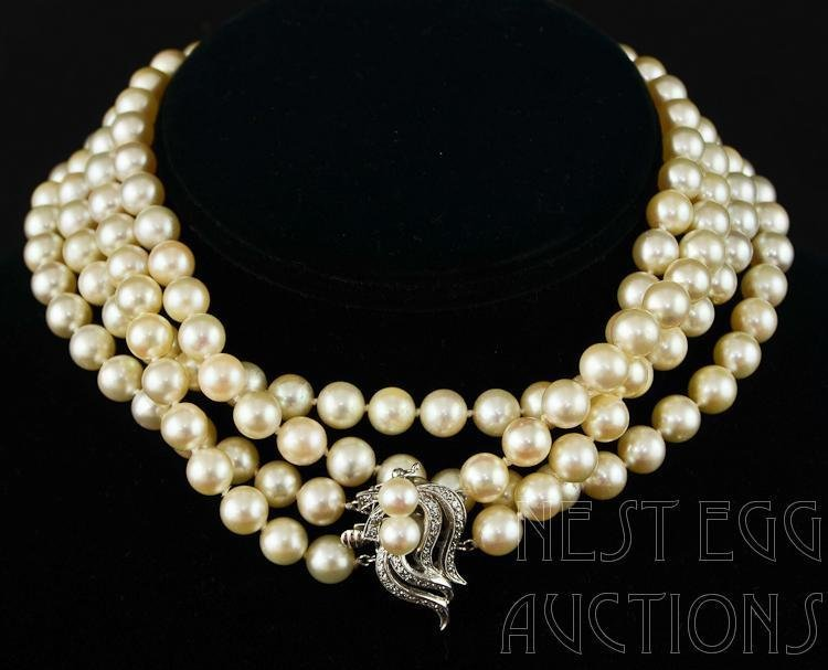 14K Diamond Clasp Double Strand Pearl Necklace 27""