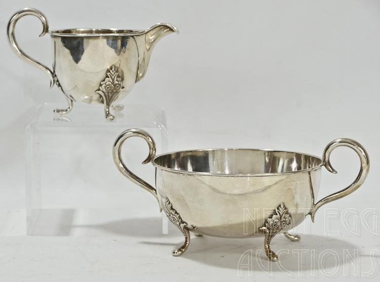 Silver F Dahl Creamer And Sugar Bowl 9 OZT