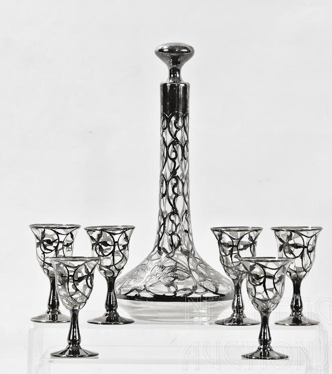 Silver On Glass Art Nouveau 8 Piece Cordial Set