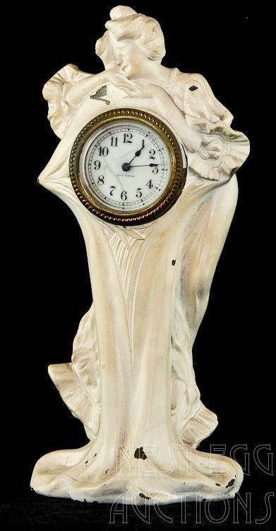 Art Nouveau Figural Seth Thomas Metal Clock