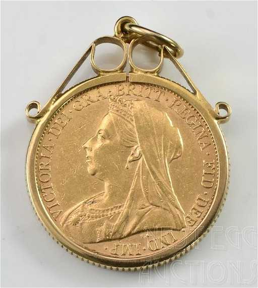 1895 gold sovereign gold coin with 9k bezel pendant aloadofball Images