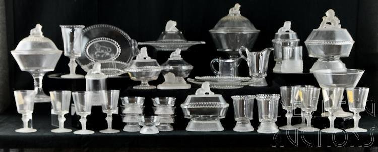 48 Piece Group Of Gillinder Frosted Lion Glass