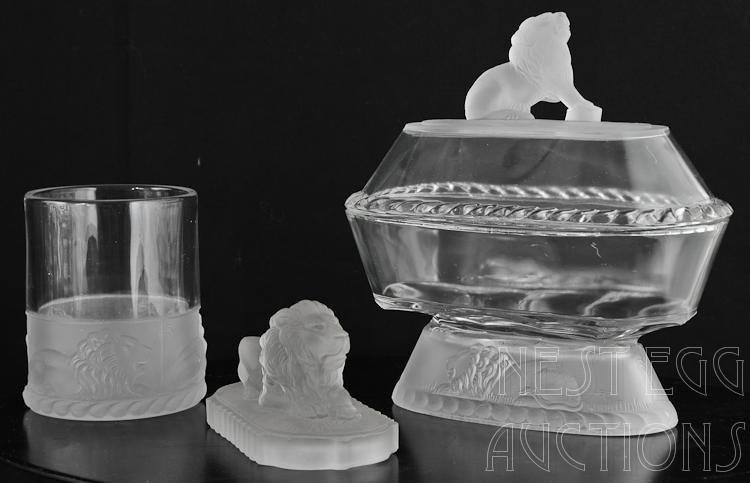 48 Piece Group Of Gillinder Frosted Lion Glass - 3