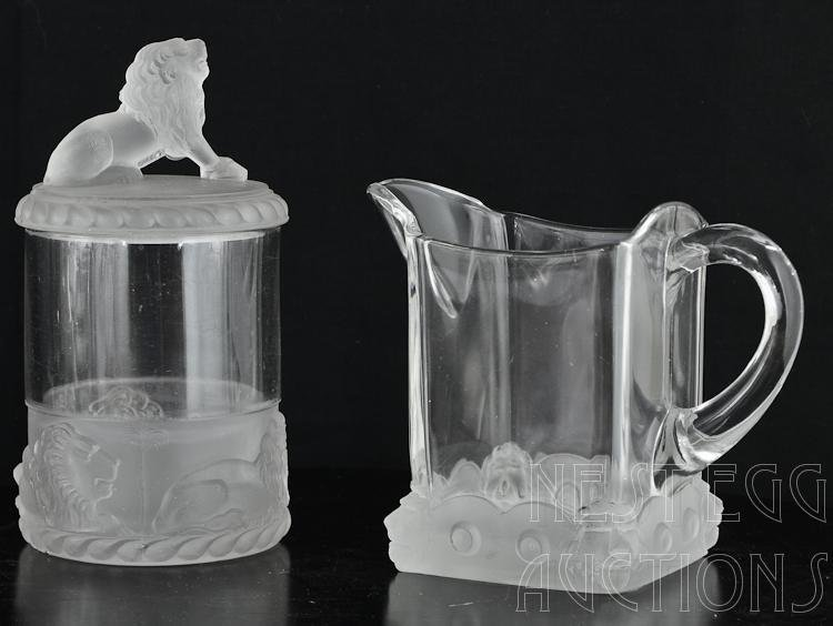 48 Piece Group Of Gillinder Frosted Lion Glass - 4