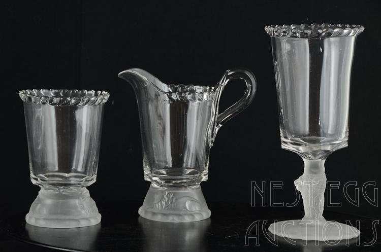 48 Piece Group Of Gillinder Frosted Lion Glass - 7