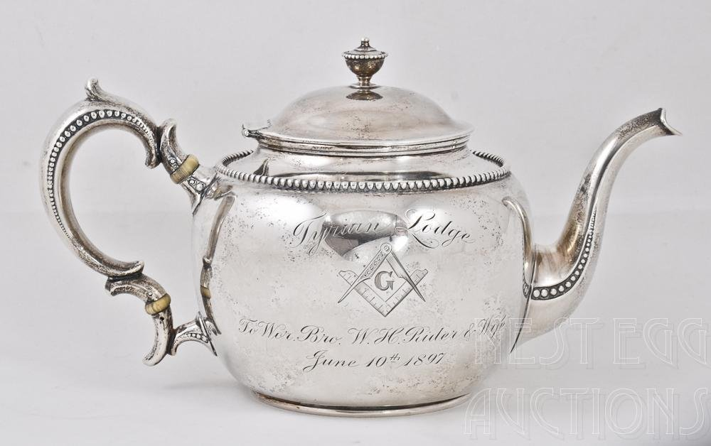 Whiting Sterling Silver Masonic Presentation Teapot